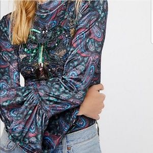 Free People Le Amour Bell Sleeve Top